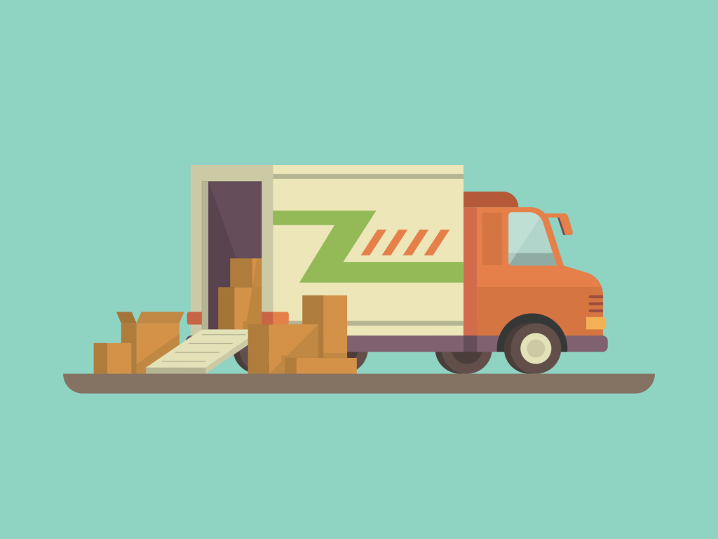 Illustration of a moving truck being loaded up. American Way Van & Storage.